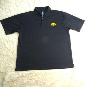 NCAA Iowa Hawkeyes Black Polo Shirt Size Large
